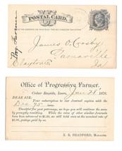 UX5 1876 Cedar Rapids Iowa Fancy Star in Circle Cancel Progressive Farme... - $9.95