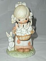 Homco Figurine Girl w Bunnies Ceramic Bisque Country Easter Shelf Displa... - $4.94
