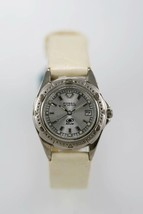 Fossil Womens Watch White Date Stainless Silver Leather Light Yellow 50m... - $33.46