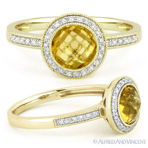 1.39ct Round Citrine Diamond Pave Halo Setting 14k Yellow Gold Engagemen... - €458,48 EUR