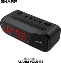 Digital Alarm Clock Black Case With Red LEDs Ascending Alarm Dual Alarm NEW - $22.91