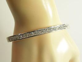 ROMAN CRYSTAL Rhinestone Hinged Bangle Bracelet Silver Plated Vintage Es... - $16.82