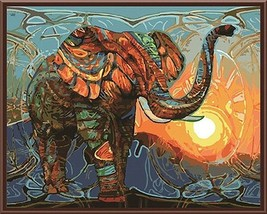 Paint By Numbers Kit Abstract Vintage Elephant 40CMx50CM Canvas - $12.47