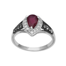 Pear Shape Garnet Gemstone White Topaz Solitaire Delicate Ring 925 Fine ... - $10.20