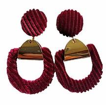 ASKANA Fashion Women`s Velvet Cloth Stud Earrings Burgundy/Wine - $10.64