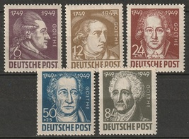 1949 Goethe Set of 5 Soviet Zone Germany Postage Stamps Catalog 10NB6-10 MNH