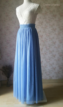 DUSTY BLUE Maxi Tulle Skirt Women Plus Size Tulle Skirts Blue Bridesmaid Skirts  image 4