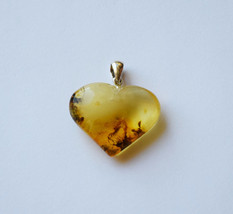 Genuine Baltic amber heart pendant, amber penda... - $52.15
