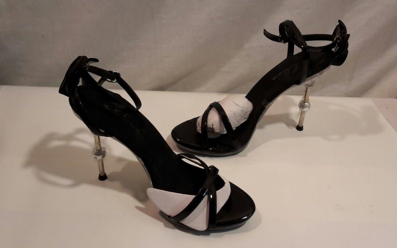 f1eb53ec1b2 Ellie Stappy Sandals Shoes 4.5 inch spike high heels Black Clear sz 7 NWOB