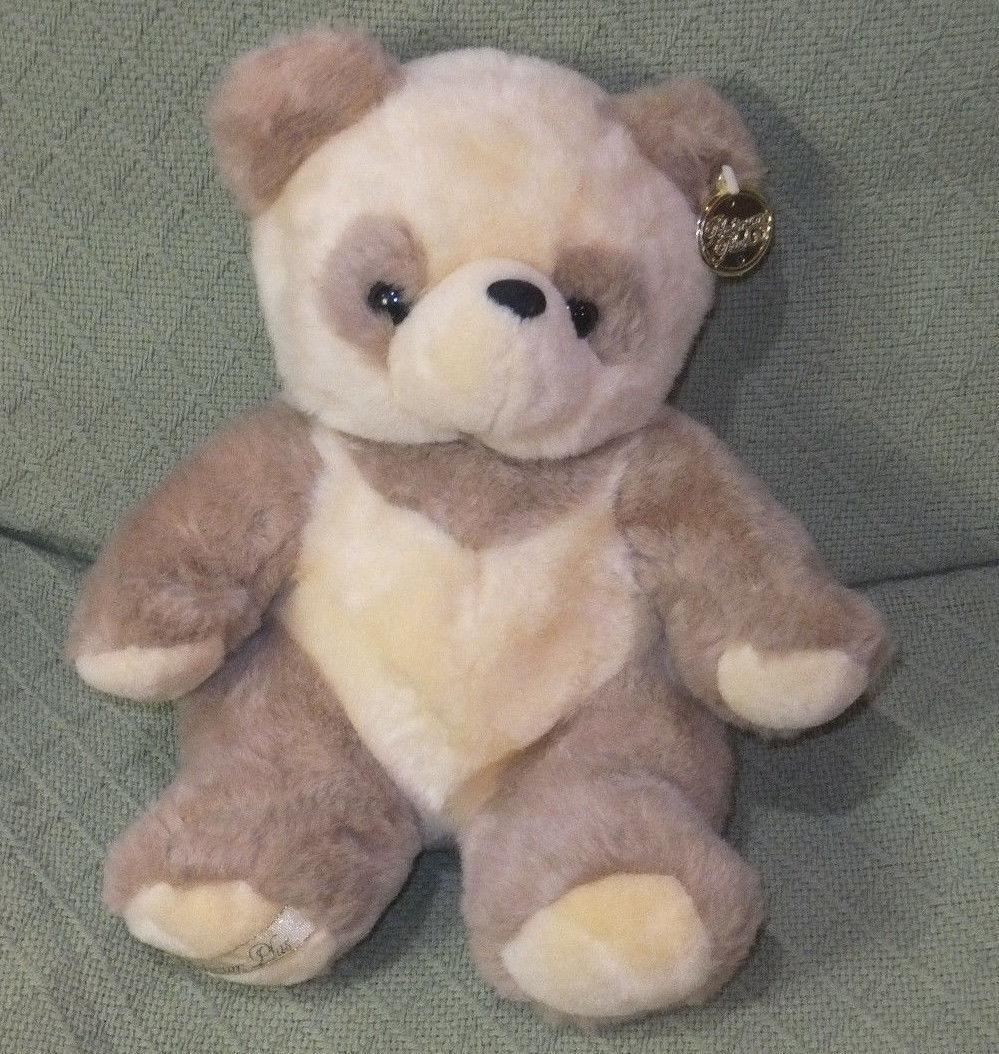 "12"" Platinum Plus Panda Teddy Bear CREAM Colored Plush Golden Ear Tag Cuddly"