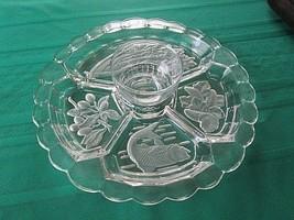Vtg clear/frosted Etched glass DIVIDED VEG/FRUIT RELISH SEAFOOD Platter ... - $19.80