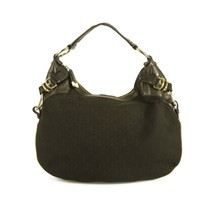 Donna Karan DKNY Signature Canvas Black Leather Studded Hobo Shoulder bag - $197.01