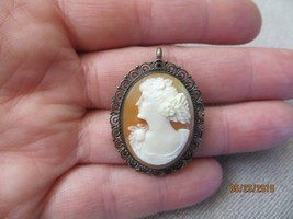 Antique Victorian/Art Deco Carved Woman Cameo Brooch Pi/Pendant 800 silver - $49.99