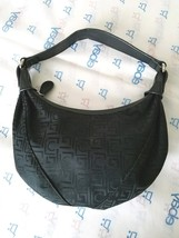LIZ CLAIBORNE Small  Black Zipper Handbag Purse Baguette Logo Silver Hardware - $5.89