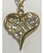 Sweet and Simple Gold Colored Metal & Rhinestones Heart Shaped Necklace ... - $13.00