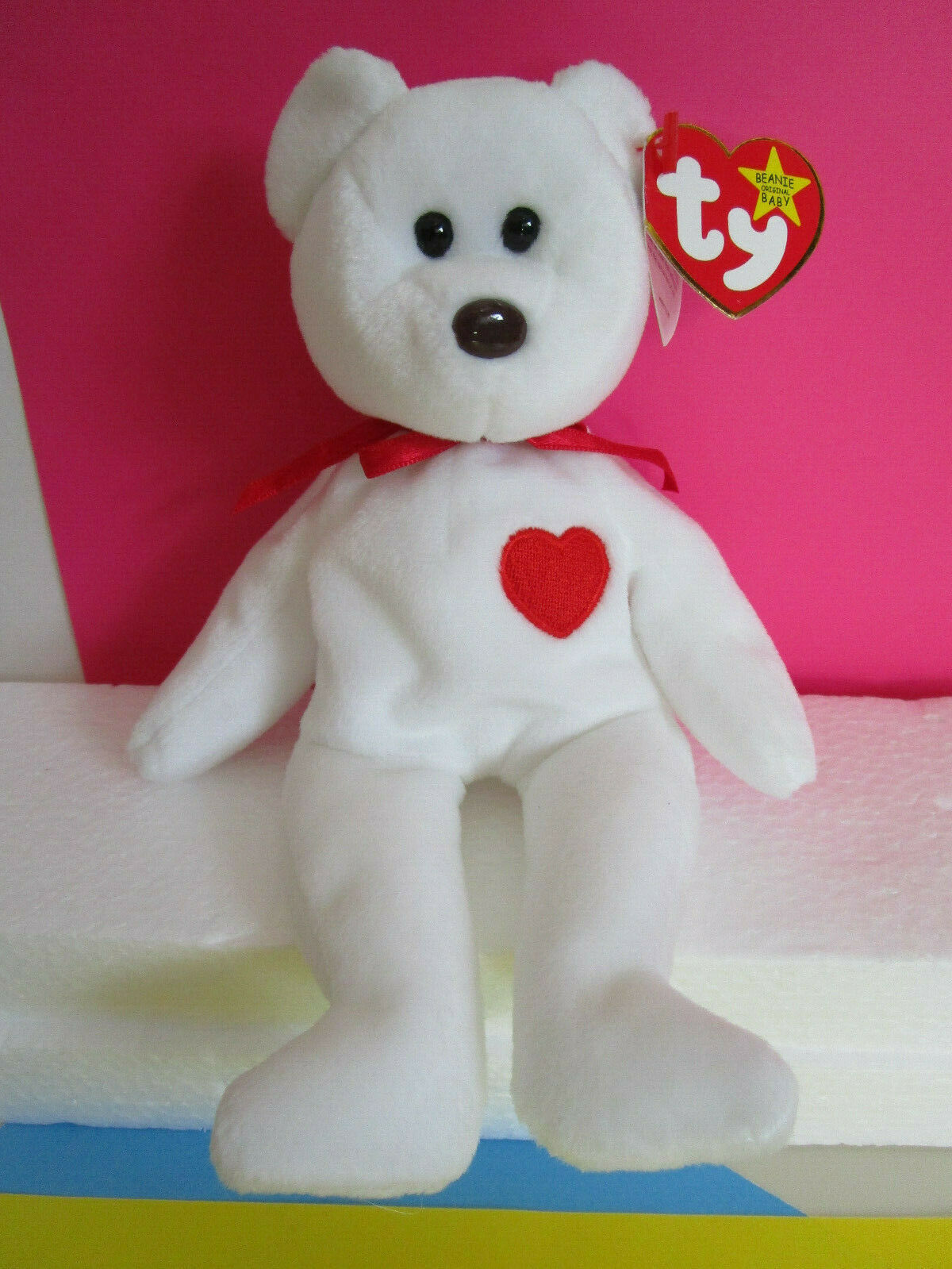 TY Beanie Babies VALENTINO White Teddy Bear with red heart, Plush Toy 1994