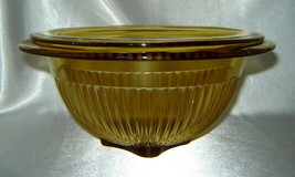 Lot (2) FEDERAL GLASS Amber Depression Ribbed Mixing / Serving Bowls - $11.66