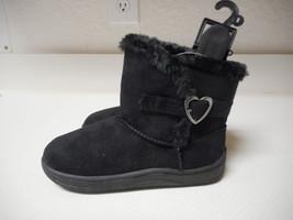 Garanimals Infant Girls Black Fur Boots Heart Buckle Shoes Size 3 NEW  - £10.62 GBP