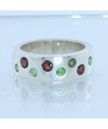 Red and Green Garnets Handmade 925 Sterling Unisex Gents Ladies Ring siz... - $116.85