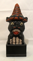 Vintage Reproduction Halloween Black Cat On a Fence Handmade Box - £35.98 GBP