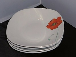 Set 4 Tabletops Unlimited Gallery PALERMO Poppy Flower Coupe Soup Bowls ... - $24.74