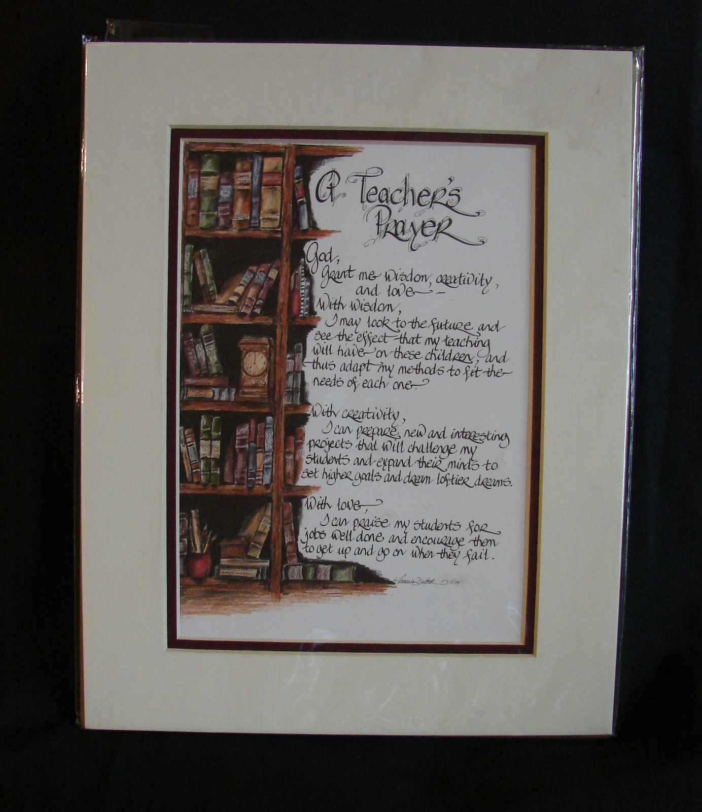 Primary image for Lori Voskuil-Dutter Matted Calligraphy A Teacher's Prayer Matted