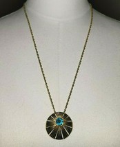 Crown Trifari Aqua Blue Rhinestone Gold Tone Starburst Medallion Necklac... - $49.49