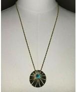Crown Trifari Aqua Blue Rhinestone Gold Tone Starburst Medallion Necklac... - $49.49