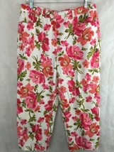 Talbots Stretch Floral Capri Pants Womens Size 12 Pink Red Roses  - $21.73