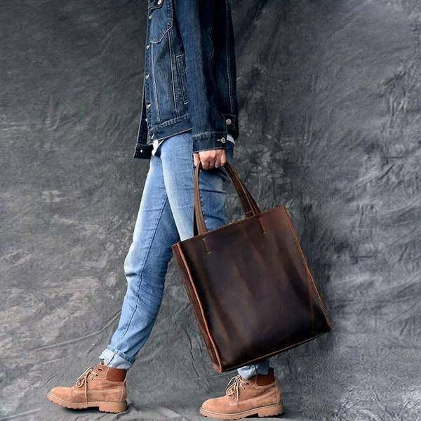 On Sale, Handmade Tote Bag, Horse Leather Shoulder Bag, Leather Shopping Bag image 2