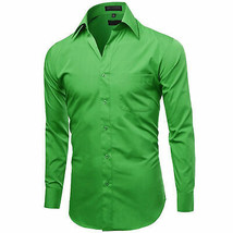 Omega Italy Men's Green Dress Shirt Long Sleeve Regular Fit w/ Defect - M image 2