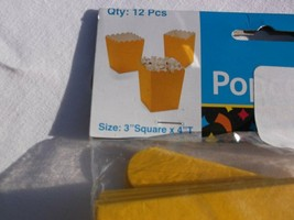 12 PIECE PACK OF YELLOW GOLD POPCORN BOXES 3 IN SQUARE 4 IN TALL UNUSED ... - $2.99