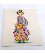 Dolls of Many Lands Card Japan Vintage Blank Note Card for Collage, Ephe... - $2.50