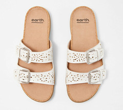 Earth Perforated Leather Slide Sandals- Sand Antigua White 9 W - $69.29