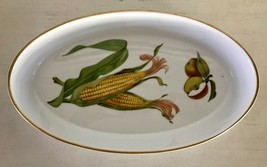 "Evesham Gold Oval Dish Porcelain Royal Worcester Fruit Gold Trim 12-1/4 x 7 x 2"" - $24.53"