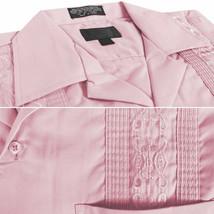Men's Guayabera Cuban Beach Wedding Casual Short Sleeve Pink Dress Shirt L image 2
