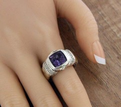 ¦Scott Kay Sterling Silver 925 Diamonds Amethyst Ladies Ring Size 6.75 »U416 - $278.54