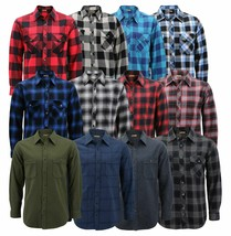 Men's Premium Cotton Button Up Long Sleeve Plaid Comfortable Flannel Shirt image 1