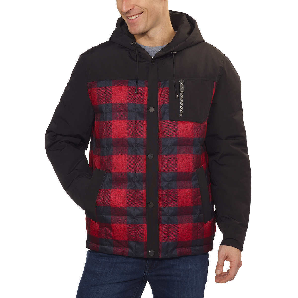 Pendleton Men's Red & Black Plaid 650 Fill Down Jacket Coat with Hood Large NWT
