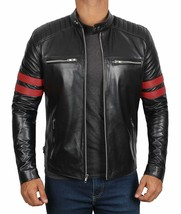 Men Genuine Leather Jacket Black Retro Slim fit Biker Motorcycle jacket - $69.29+