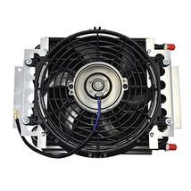 """A-Team Performance 5"""" Oil Cooler With 10"""" Electric Fan and 3/8"""" Fitting 48"""" L Ho"""