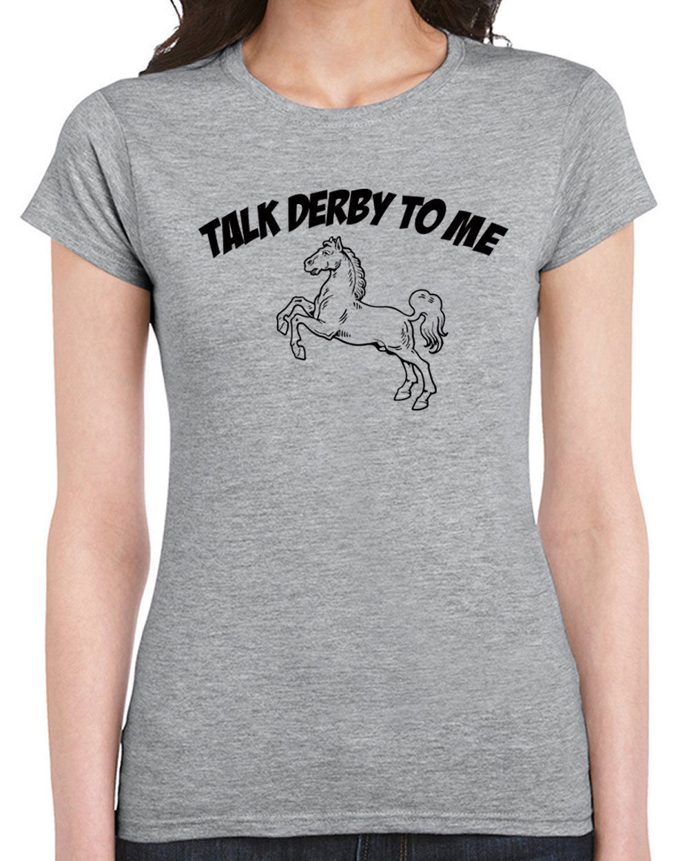Primary image for 383 Talk Derby to Me womens T-shirt horse racing rude vulgar funny vintage retro