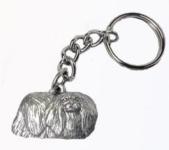 Pekingese Dog Keychain Keyring Harris Pewter Made USA Key Chain Ring - $9.48