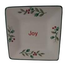 "Pfaltzgraff Winterberry Christmas Joy Appetizer Plate Dish 5.5"" Square - $10.99"