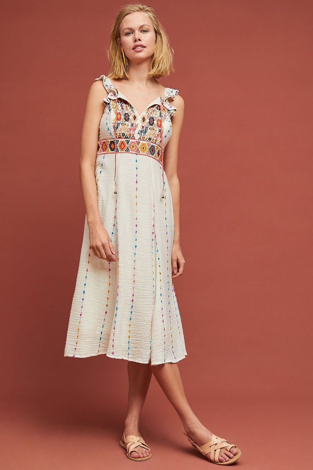 NWT ANTHROPOLOGIE LLAMA EMBROIDERED DRESS by MAEVE 12