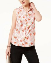 Charter Club Sleeveless Floral Printed Button-Down Shirt, NWT 8 - $10.57