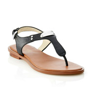 New! MICHAEL KORS ~Size 7.5~ MK Logo Plate Thong Black Leather Sandals S... - $79.99