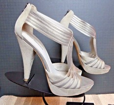 Women's Via Spiga Italy Grey Suede Smooth Leather Ankle Strap Heels Sz 9.5 MINTY - $44.17