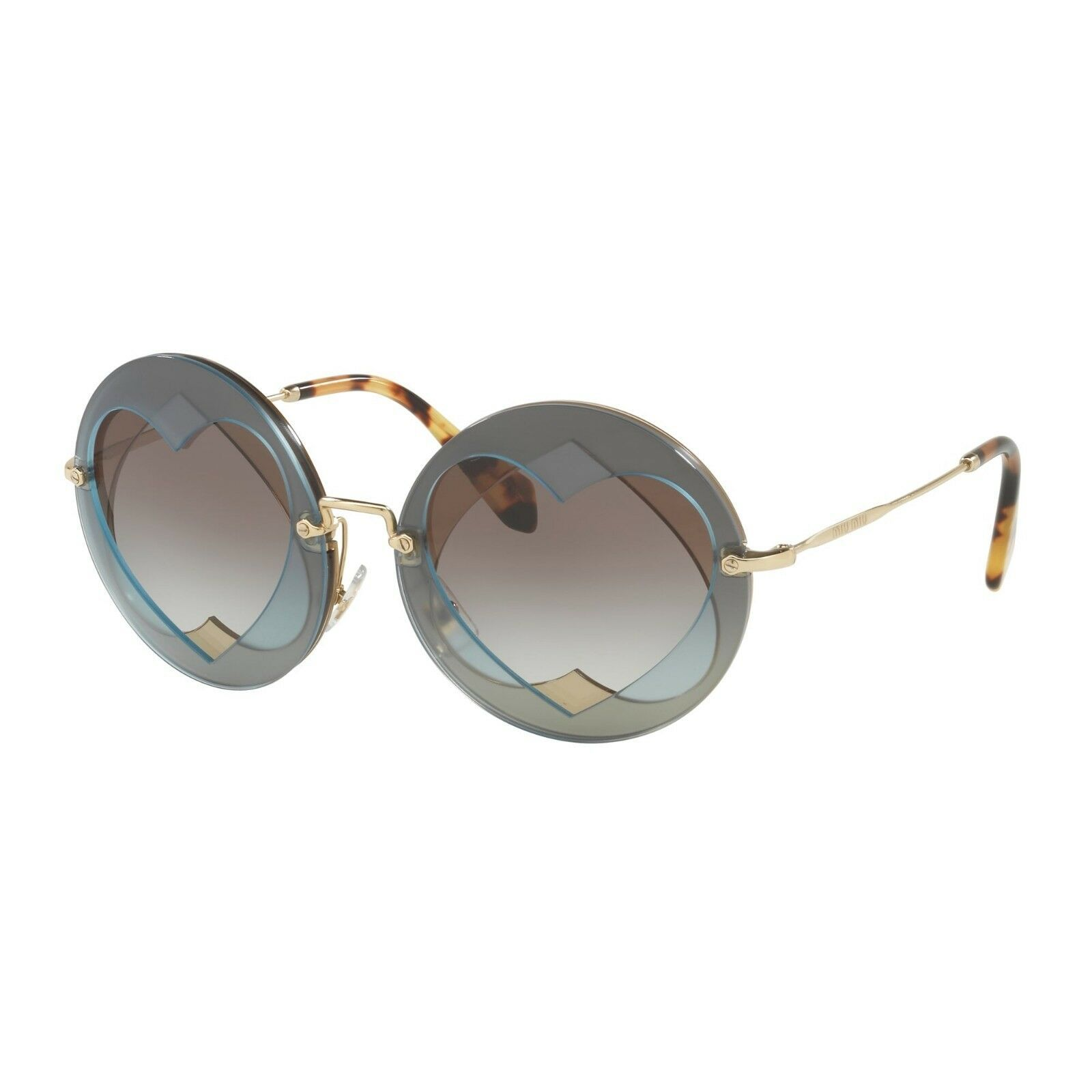 73c967c32ec9 NEW MIU MIU Women's 01SS Layered Double Heart Round Sunglasses  Azure/Hazelnut - $176.42