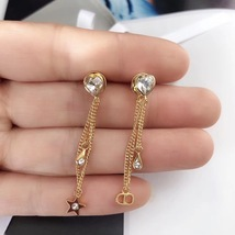 Authentic Christian Dior Sous Les Etoiles Earrings Gold Crystal Dangle Drop image 7